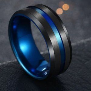 New Stainless Steel Thin Blue Line Ring
